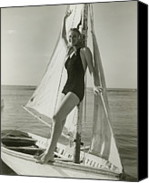 One Piece Swimsuit Canvas Prints - Young Woman Posing On Sailboat Canvas Print by George Marks