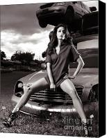 Twenties Photo Canvas Prints - Young Woman Sitting on a Crashed Car Canvas Print by Oleksiy Maksymenko