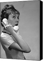 Talking Canvas Prints - Young Woman Talking On Phone In Studio, (b&w) Canvas Print by George Marks