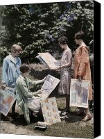 Four Women Canvas Prints - Young Women From Newcomb College Gather Canvas Print by Edwin L. Wisherd