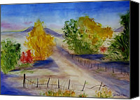 Country Dirt Roads Painting Canvas Prints - Youngs Farm Canvas Print by Jamie Frier
