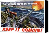 World War I Digital Art Canvas Prints - Your Metal Saves Our Convoys Canvas Print by War Is Hell Store
