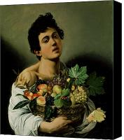 Bacchus Canvas Prints - Youth with a Basket of Fruit Canvas Print by Michelangelo Merisi da Caravaggio
