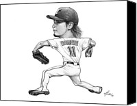 Texas Rangers Canvas Prints - Yu Darvish Canvas Print by Darrell Fitch