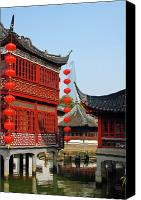 Pavilion Canvas Prints - Yu Gardens - A Classic Chinese garden in Shanghai Canvas Print by Christine Till