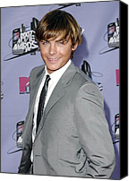 Gray Suit Canvas Prints - Zac Efron At Arrivals For 2007 Mtv Canvas Print by Everett