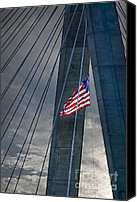 Patriotism Photo Canvas Prints - Zakim bridge Boston Canvas Print by Elena Elisseeva