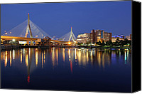 Boston Photo Canvas Prints - Zakim Bridge in Boston Canvas Print by Juergen Roth