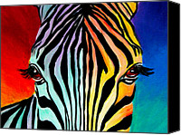 Wild Animal Canvas Prints - Zebra - End of the Rainbow Canvas Print by Alicia VanNoy Call