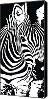 Horse Digital Art Canvas Prints - zebra-01C Canvas Print by Eakaluk Pataratrivijit