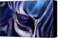 Animal Art Print Mixed Media Canvas Prints - Zebra Blue Canvas Print by Carol Cavalaris