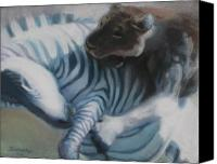 Zebra Pastels Canvas Prints - Zebra Story Canvas Print by Jan Fontecchio Perley