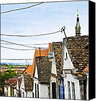 Clay Canvas Prints - Zemun rooftops in Belgrade Canvas Print by Elena Elisseeva
