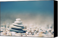 Stack Canvas Prints - Zen Balanced Pebbles At Beach Canvas Print by Alexandre Fundone