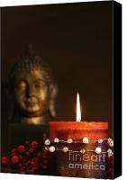 Still Life Sculpture Photo Canvas Prints - Zen candle and buddha statue Canvas Print by Sandra Cunningham