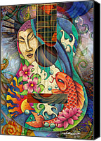 Buddhist Drawings Canvas Prints - Zen Guitar Canvas Print by Julie Oakes
