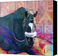 Prancing Canvas Prints - Zenyatta - Run Like A Girl Canvas Print by Leisa Temple