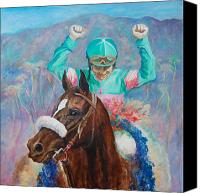 Prancing Canvas Prints - Zenyatta and Mike Smith Canvas Print by Leisa Temple