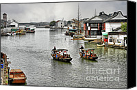 Junk Canvas Prints - Zhujiajiao - A Glimpse of Ancient Yangtze Delta Life Canvas Print by Christine Till