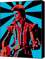 Alien Canvas Prints - Ziggy Played Guitar Canvas Print by Lance Vaughn
