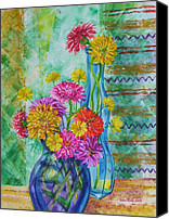Zinna Canvas Prints - Zinnas Two Vases Canvas Print by John Rose