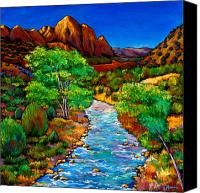 Blue Painting Canvas Prints - Zion Canvas Print by Johnathan Harris