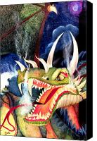 Monster Drawings Canvas Prints - Zoe Dragon Canvas Print by Carrie Jackson