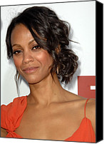 Wavy Hair Canvas Prints - Zoe Saldana At Arrivals For Death At A Canvas Print by Everett