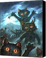 Cats Canvas Prints - Zombie Cats Canvas Print by Jeff Haynie