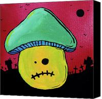Haunted House Mixed Media Canvas Prints - Zombie Mushroom 1 Canvas Print by Jera Sky