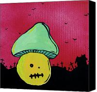 Mushroom Mixed Media Canvas Prints - Zombie Mushroom 2 Canvas Print by Jera Sky
