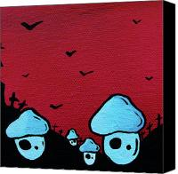 Mushroom Mixed Media Canvas Prints - Zombie Mushroom Army Canvas Print by Jera Sky