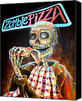 Creature Painting Canvas Prints - Zombie Pizza Canvas Print by Heather Calderon