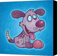 Zombie Digital Art Canvas Prints - Zombie Puppy Canvas Print by John Schwegel