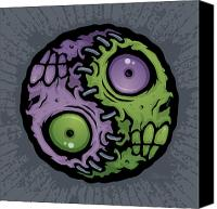 Halloween Digital Art Canvas Prints - Zombie Yin-Yang Canvas Print by John Schwegel