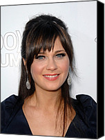Dangly Earrings Canvas Prints - Zooey Deschanel At Arrivals For 500 Canvas Print by Everett