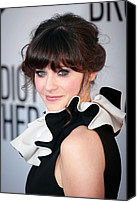 Updo Canvas Prints - Zooey Deschanel  Wearing A Moschino Canvas Print by Everett