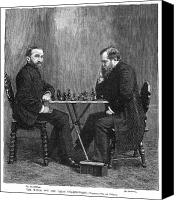 Chess Set Canvas Prints - Zukertort Vs. Steinitz Canvas Print by Granger