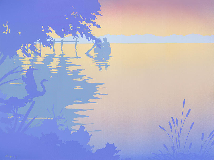 Abstract Painting - abstract tropical boat Dock Sunset large pop art nouveau retro 1980s florida landscape seascape by Walt Curlee