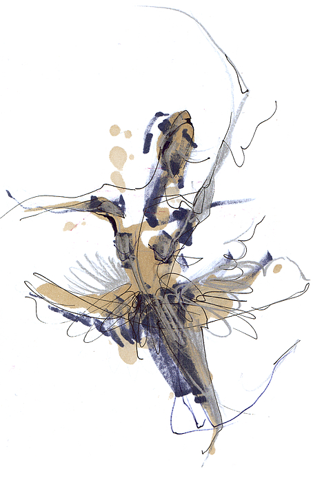 Imaginary Dance Or Swan Lake Print by Lousine Hogtanian