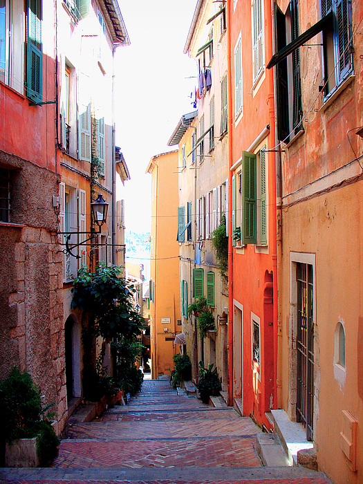 Streets Of Villefranche Print by Julie Palencia