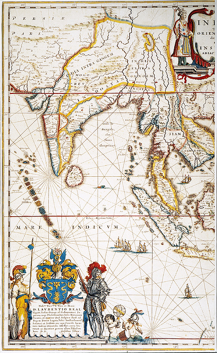 South Asia Map, 1662 Print by Granger