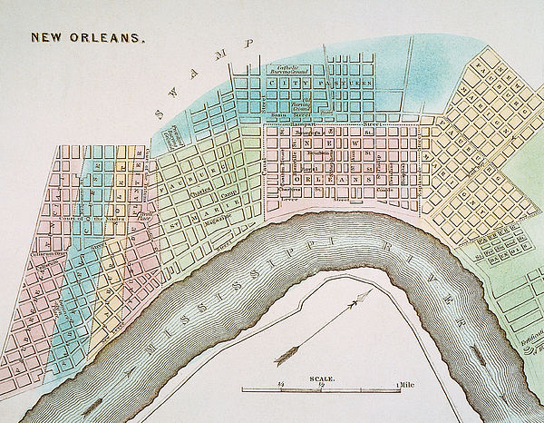 New Orleans Map, 1837 Print by Granger