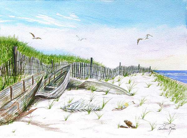 Boats In The Sand Print by Pauline Ross