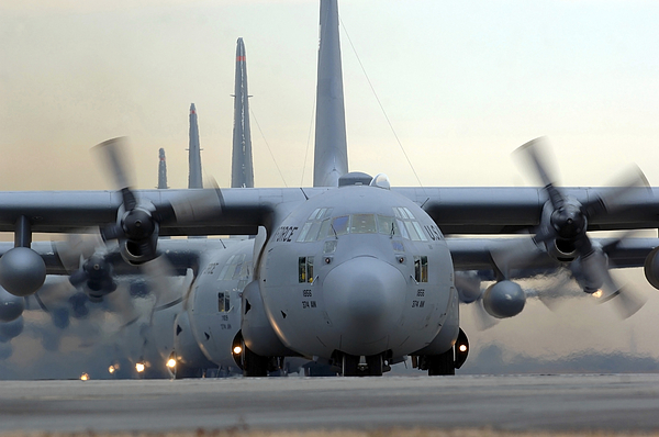 C-130 Hercules Aircraft Taxi Print by Stocktrek Images