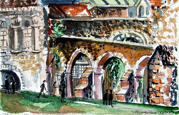 Canterbury England Cloisters Print by Mindy Newman