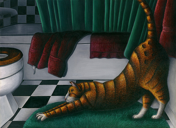Cat Stretching In Bathroom Print by Carol Wilson