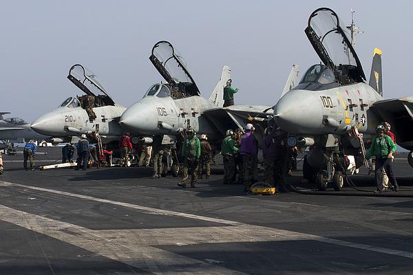 F-14d Tomcats On The Flight Deck Of Uss Print by Gert Kromhout