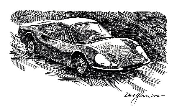 Ferrari Dino Print by David Lloyd Glover