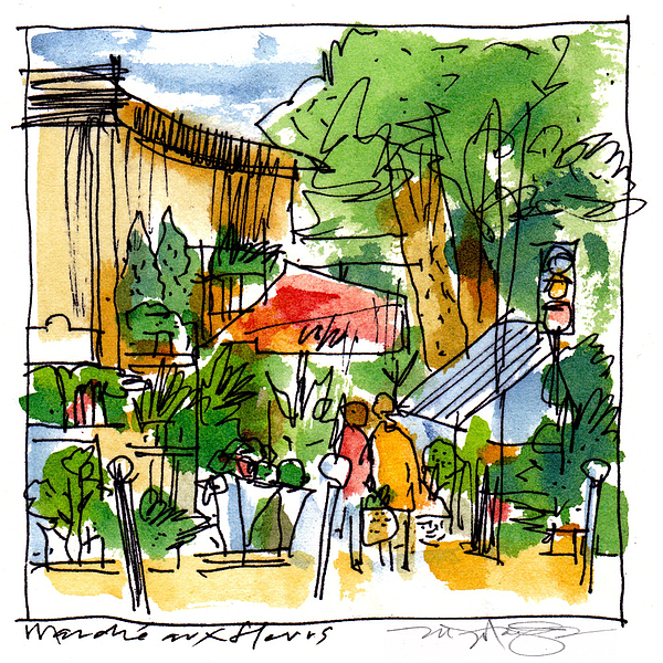 Flower Market Paris Print by Marilyn MacGregor
